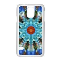 Pattern Blue Brown Background Samsung Galaxy S5 Case (white)