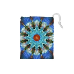 Pattern Blue Brown Background Drawstring Pouches (small)