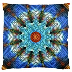 Pattern Blue Brown Background Large Flano Cushion Case (two Sides)