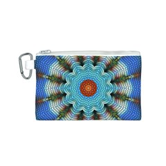 Pattern Blue Brown Background Canvas Cosmetic Bag (s)