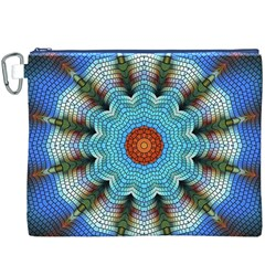 Pattern Blue Brown Background Canvas Cosmetic Bag (xxxl)