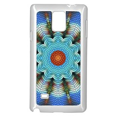 Pattern Blue Brown Background Samsung Galaxy Note 4 Case (white)