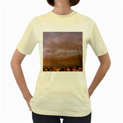 Rain Rainbow Pink Clouds Women s Yellow T-Shirt
