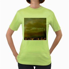 Rain Rainbow Pink Clouds Women s Green T Shirt