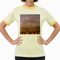 Rain Rainbow Pink Clouds Women s Fitted Ringer T Shirts
