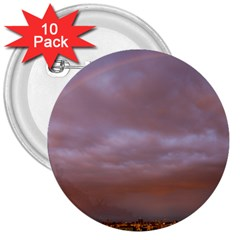 Rain Rainbow Pink Clouds 3  Buttons (10 Pack)