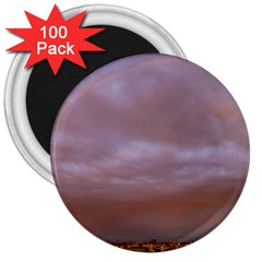 Rain Rainbow Pink Clouds 3  Magnets (100 Pack)