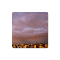 Rain Rainbow Pink Clouds Square Magnet