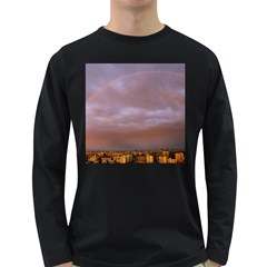 Rain Rainbow Pink Clouds Long Sleeve Dark T Shirts