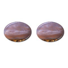 Rain Rainbow Pink Clouds Cufflinks (oval)