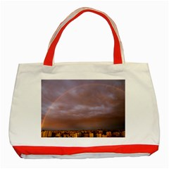 Rain Rainbow Pink Clouds Classic Tote Bag (red)