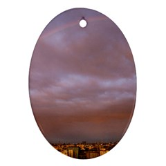 Rain Rainbow Pink Clouds Oval Ornament (two Sides)