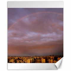 Rain Rainbow Pink Clouds Canvas 16  X 20