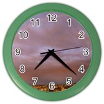 Rain Rainbow Pink Clouds Color Wall Clocks Front