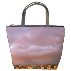 Rain Rainbow Pink Clouds Bucket Bags