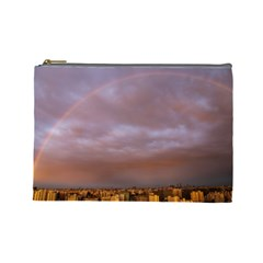 Rain Rainbow Pink Clouds Cosmetic Bag (large)
