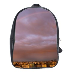 Rain Rainbow Pink Clouds School Bags(large)