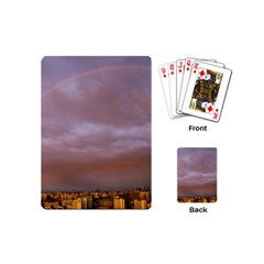 Rain Rainbow Pink Clouds Playing Cards (mini)