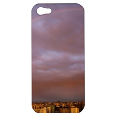 Rain Rainbow Pink Clouds Apple Iphone 5 Hardshell Case