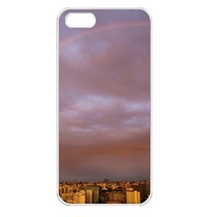 Rain Rainbow Pink Clouds Apple Iphone 5 Seamless Case (white)