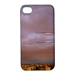 Rain Rainbow Pink Clouds Apple Iphone 4/4s Hardshell Case With Stand