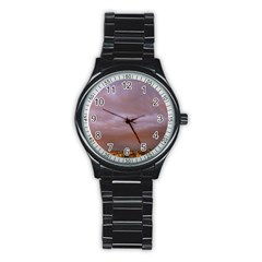 Rain Rainbow Pink Clouds Stainless Steel Round Watch
