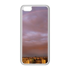 Rain Rainbow Pink Clouds Apple Iphone 5c Seamless Case (white)
