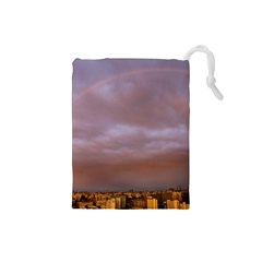 Rain Rainbow Pink Clouds Drawstring Pouches (small)