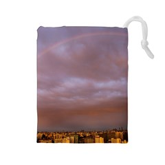 Rain Rainbow Pink Clouds Drawstring Pouches (large)