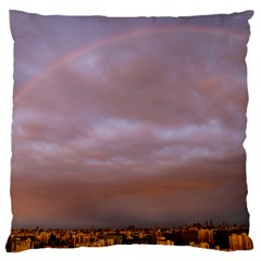 Rain Rainbow Pink Clouds Large Flano Cushion Case (two Sides)