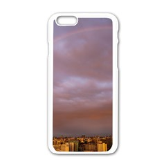 Rain Rainbow Pink Clouds Apple Iphone 6/6s White Enamel Case
