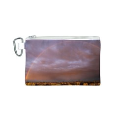 Rain Rainbow Pink Clouds Canvas Cosmetic Bag (s)