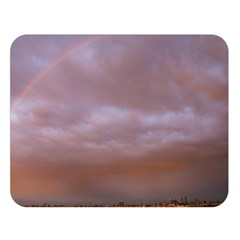 Rain Rainbow Pink Clouds Double Sided Flano Blanket (large)
