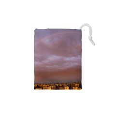 Rain Rainbow Pink Clouds Drawstring Pouches (xs)
