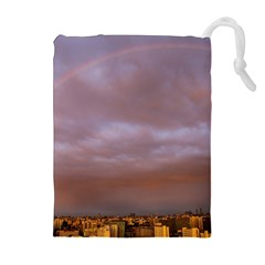 Rain Rainbow Pink Clouds Drawstring Pouches (extra Large)
