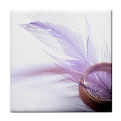 Ring Feather Marriage Pink Gold Tile Coasters