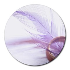 Ring Feather Marriage Pink Gold Round Mousepads