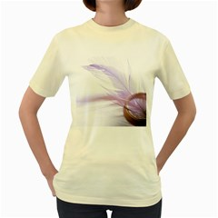 Ring Feather Marriage Pink Gold Women s Yellow T Shirt