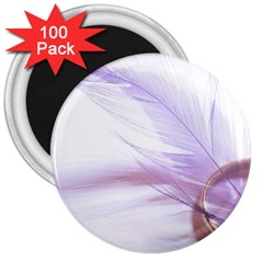 Ring Feather Marriage Pink Gold 3  Magnets (100 Pack)
