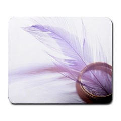 Ring Feather Marriage Pink Gold Large Mousepads