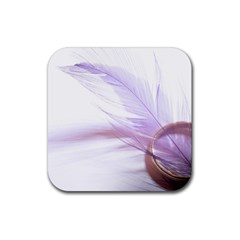 Ring Feather Marriage Pink Gold Rubber Square Coaster (4 pack)