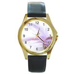 Ring Feather Marriage Pink Gold Round Gold Metal Watch