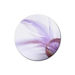 Ring Feather Marriage Pink Gold Rubber Coaster (Round)