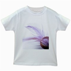 Ring Feather Marriage Pink Gold Kids White T Shirts