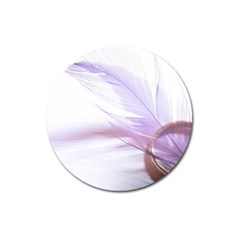 Ring Feather Marriage Pink Gold Magnet 3  (round)