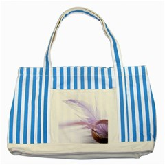 Ring Feather Marriage Pink Gold Striped Blue Tote Bag
