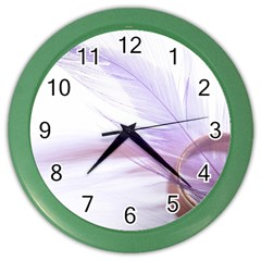 Ring Feather Marriage Pink Gold Color Wall Clocks