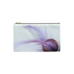 Ring Feather Marriage Pink Gold Cosmetic Bag (Small)