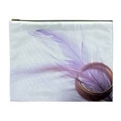 Ring Feather Marriage Pink Gold Cosmetic Bag (xl)