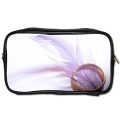 Ring Feather Marriage Pink Gold Toiletries Bags 2 Side